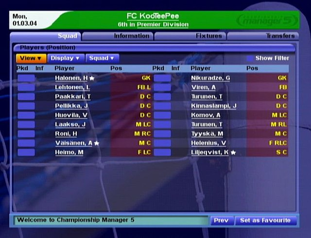 Championship Manager 5 - Xbox Screen